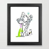 Cartoon Friends Framed Art Print
