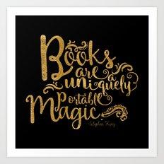 Books are a Uniquely Portable Magic Gold Art Print