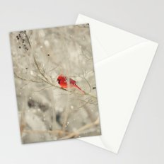 A bird on a winter's day Stationery Cards