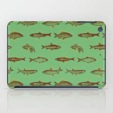 Fishes In Geometrics (Old Green) iPad Case