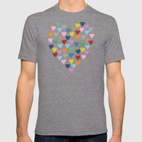 Hearts Heart Mens Fitted Tee Tri-Grey SMALL