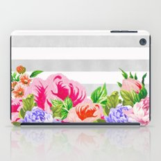 FLORAL GRAY STRIPES iPad Case