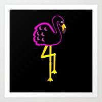 Flamingo at Night  Art Print