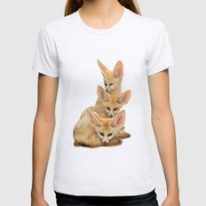 FENNEC FOX 3 Womens Fitted Tee Ash Grey SMALL