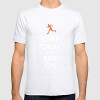 Keep Calm and Run On (male runner) Mens Fitted Tee Ash Grey SMALL