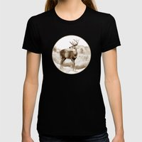 White-tailed Stag Sniffi… Womens Fitted Tee Black SMALL