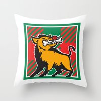 Wild Boar Bone In Mouth Tartan Square Retro Throw Pillow