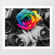B&W Splash Roses Art Print