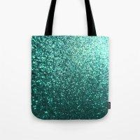Teal Aqua Glitter Sparkle Tote Bag