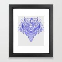 Little Blue Deer Framed Art Print