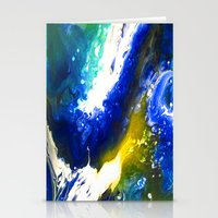 Abstract Art Drip Painting Blue, White ,Yellow Stationery Cards