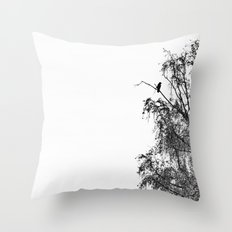 Crow On Birch Throw Pillow
