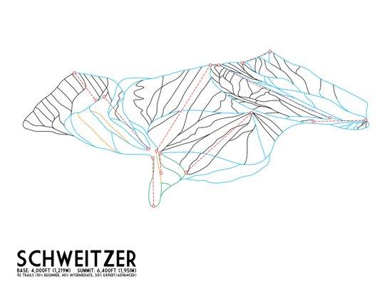 Schweitzer, ID - Minimalist Trail Art Art Print