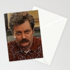 Ron Swanson, Nick Offerman, Parks and recreation Stationery Cards