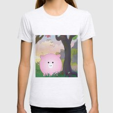 Cartoon pig Womens Fitted Tee Ash Grey SMALL