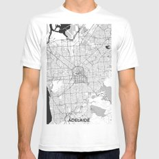 Adelaide Map Blue Vintage Mens Fitted Tee White SMALL