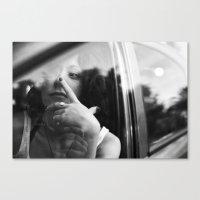 portrait through the car window Canvas Print