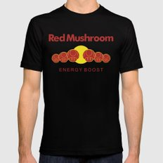 Red Mushroom Energy Boost SMALL Mens Fitted Tee Black
