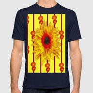 Orange Poppies Stripes S… Mens Fitted Tee Navy SMALL
