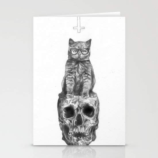 The Cat, The Skull, The Cross Stationery Card