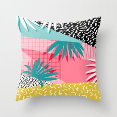 Bingo - throwback retro memphis neon tropical socal desert festival trendy hipster pattern pop art  Throw Pillow