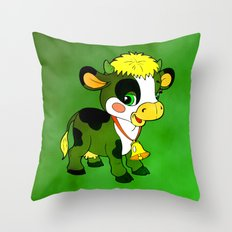 Childhood Cow Throw Pillow