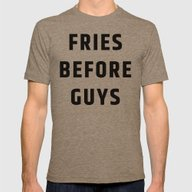 Fries Before Guys Mens Fitted Tee Tri-Coffee SMALL