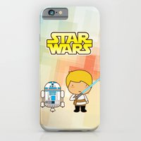 iPhone & iPod Case featuring Luke Skywalker and R2D2 by Pigtails