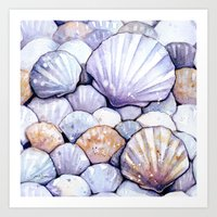 Sea Shells Amethyst Art Print