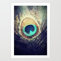 feather Art Prints featuring Peacock Feather  by Love2Snap