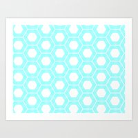 Nieuwland Powder Blue Hexagons Pattern Art Print