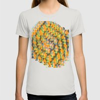 Blocks in Orange Womens Fitted Tee Silver SMALL