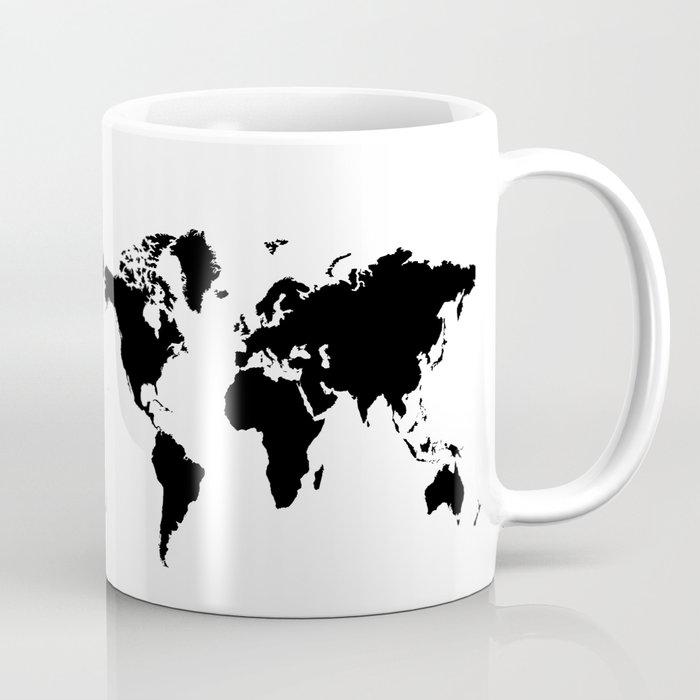 Black And White World Map Rug: Black And White World Map Mug By Haroulita