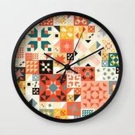 Wall Clock featuring Modern Quilt Pattern by Cina Catteau