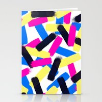 Modern bright abstract brushstrokes paint pattern Stationery Cards