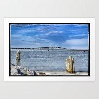 Bridge to sand and sea Art Print