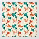 teal paper cranes Canvas Print