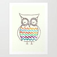 Chevron Owl Art Print