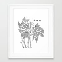 Skeletal Giraffe Framed Art Print