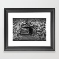 Covered Bridge In The Sl… Framed Art Print