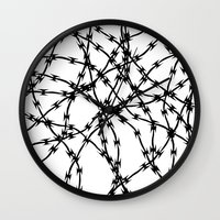 Trapped Black on White Wall Clock