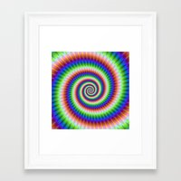 Green Blue Red and Yellow Spiral Framed Art Print