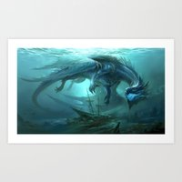 Blue Dragon v2 Art Print