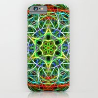 Feathered texture mandala in green and brown iPhone 6 Slim Case