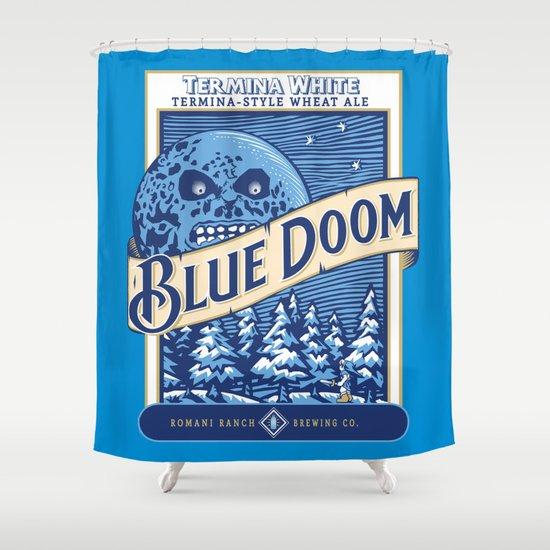 Blue Doom Shower Curtain