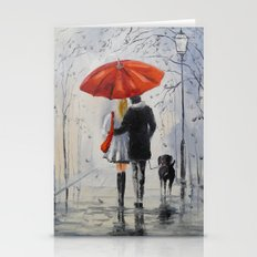 Walking in the rain Stationery Cards