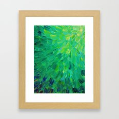SEA SCALES in GREEN - Bright Green Ocean Waves Beach Mermaid Fins Scales Abstract Acrylic Painting Framed Art Print