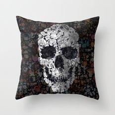 Doodle Skull Throw Pillow