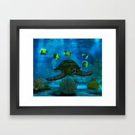 Framed Art Print featuring Into The Deep Aquarium by BohemianBound