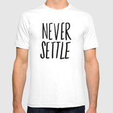 Never Settle SMALL White Mens Fitted Tee